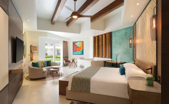 The new Hilton Playa del Carmen is an all-suite property. Pictured a junior swim-up king suite.