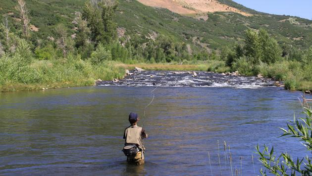 Fly-fishing in the Provo River.
