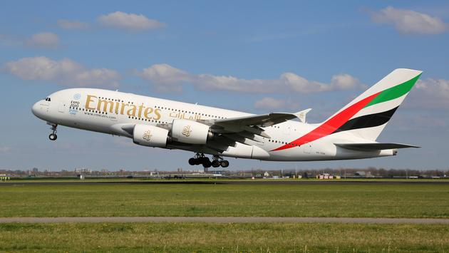 emirates, plane, flight