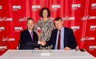 Fred Dixon, NYC & Company President and CEO (left); Ramona Pop, Deputy Mayor/Senator for Economics, Energy and Public Enterprises of Berlin (middle); Burkhard Kieker, CEO of visitBerlin (right)