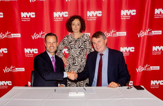 Fred Dixon, NYC & Company President and CEO (left); Ramona Pop, Deputy Mayor/Senator for Economics, Energy and Public Enterprises of Berlin (middle); Burkhard Kieker, CEO of visitBerlin (right)