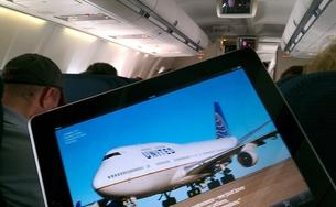 Tablet on an airplane
