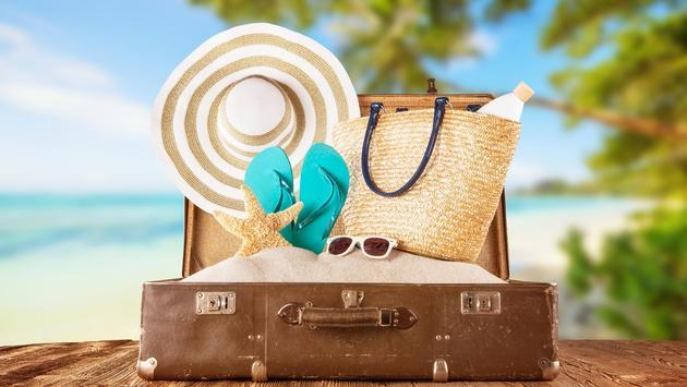 luggage with summer beach holiday