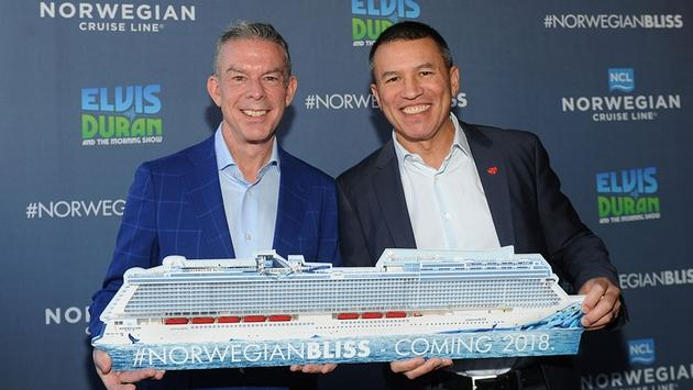 Radio personality and Norwegian Bliss godfather Elvis Duran (left) and Norwegian Cruise Line President and CEO Andy Stuart