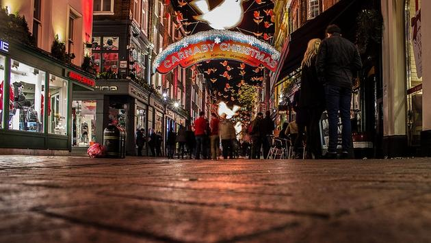 The holiday season on Carnaby Street in London