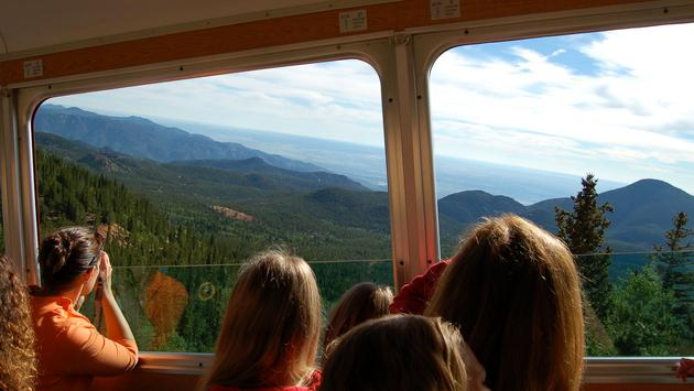A scenic view from Colorado's Broadmoor Manitou and Pikes Peak Cog Railway train.