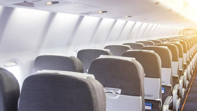Passenger seats in the cabin airplane