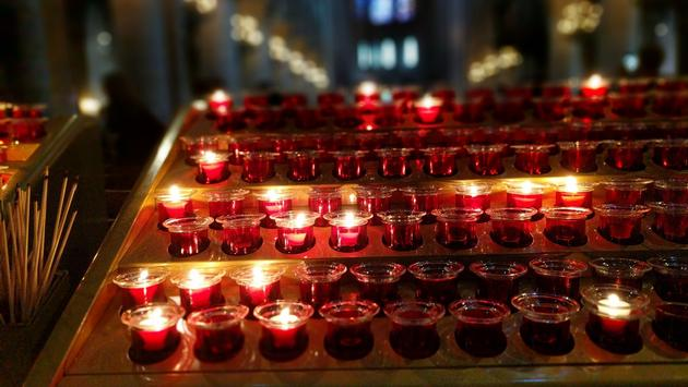 Candles inside Notre Dame Cathedral