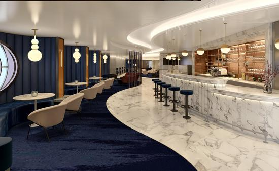 Champagne bar with white marble and blue carpet contemporary design on ship