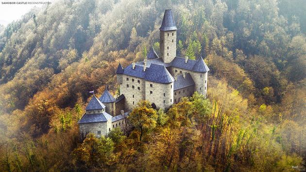 Rendering of reconstructed 13th-century Samobor Castle, Croatia.