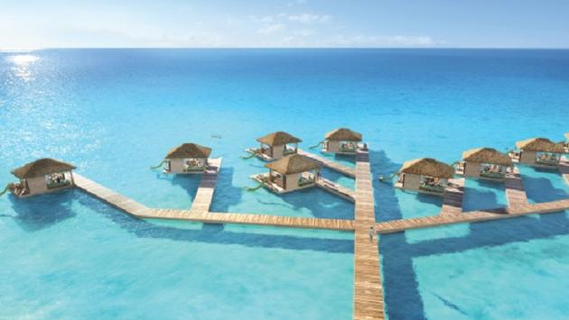 Rendering of the floating cabanas at Coco Beach Club