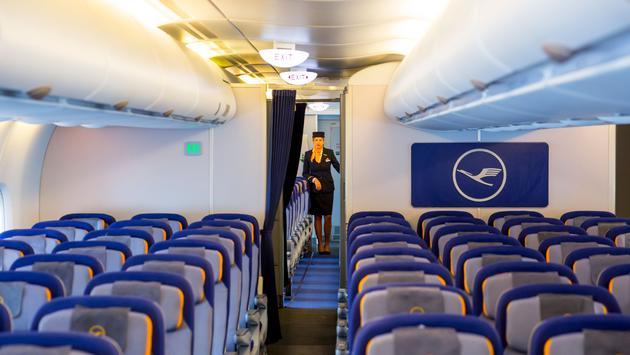 Lufthansa Airbus A380 airplane inside stewardess