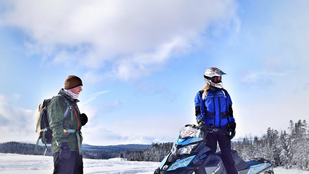 FOX Nation's Abby Hornacek snowmobiling in Grand Teton National Park