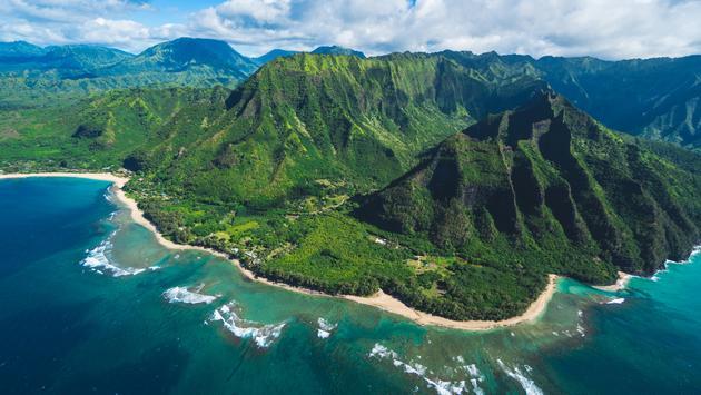 An aerial view of the Princeville area and Hanalei on Kauai Island, Hawaii.