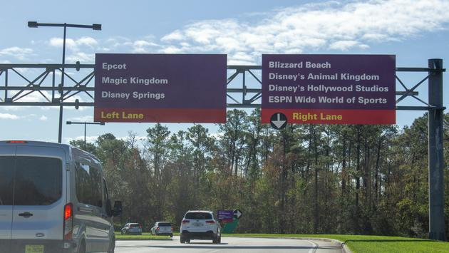 Vehicles approaching Walt Disney World