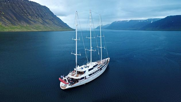 Variety Cruises' Panorama at Arnafjordur in the Faroe Islands