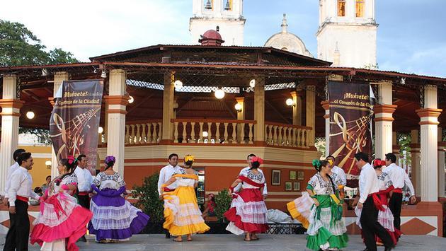 Locals dancing in San Francisco de Campeche, Mexico
