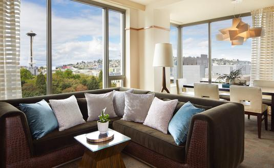 Hotel suite with view of Space Needle