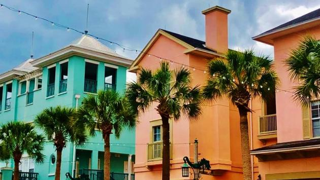 Colorful homes in downtown Celebration, Florida
