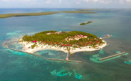Aerial view of Turneffe Island Resort in Belize