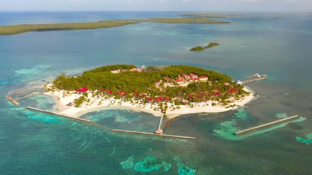 Aerial view of Turneffe Island Resort in Belize