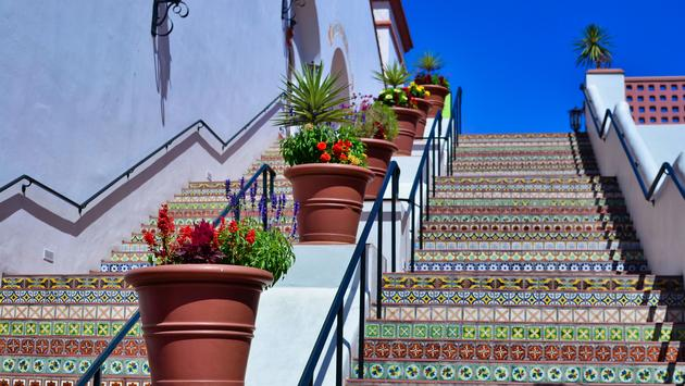 Painted Tile Stairs in Paseo Nuevo Plaza