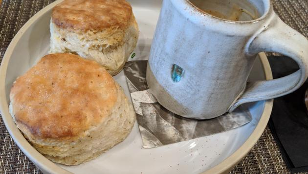 Biscuits and gravy at Husk in Greenville, South Carolina