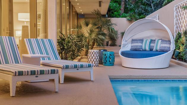 A pool in a Lanai Suite's private outdoor space at The Mirage