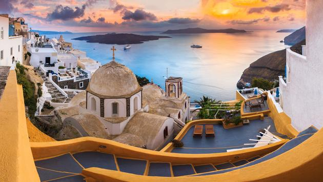 Stunning view of Santorini from above