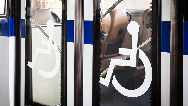 Handicap sign on Door bus Entrance
