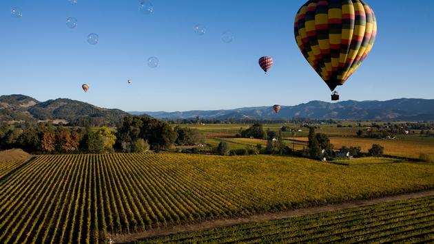 Bubbles over Napa Valley