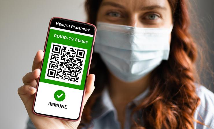 Example of a COVID-19 digital health pass displayed on a smartphone.