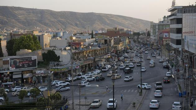 View of traffic and mountain landscape in Dohuk in northern Iraq