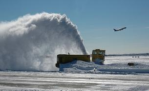 Digging out after a winter storm at Boston Logan International Airport