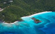 Aerial shot of Trunk Bay, St John, US Virgin Islands