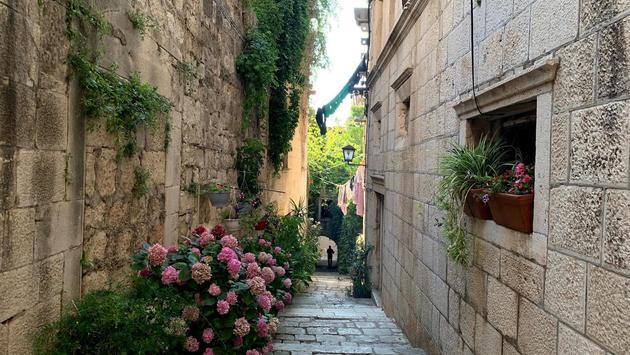 Walking around the town of Korcula, Croatia