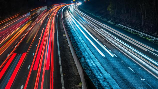 Night View of highway and cars