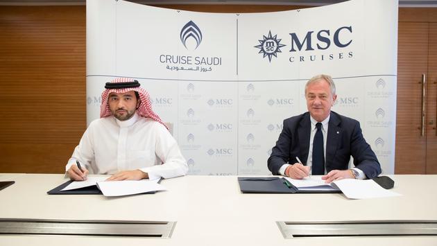 Pierfrancesco Vago, executive chairman of MSC Cruises, and Fawaz Farooqui, managing director of Cruise Saudi.
