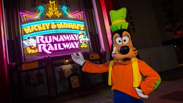 Goofy plays a role in Mickey & Minnie's Runaway Railway at Disney's Hollywood Studios at Walt Disney World Resort