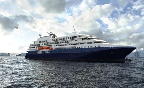 Rendering for Quark Expeditions New Polar Expedition Ship