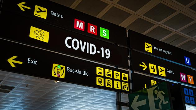 Airport information panel emblazoned with
