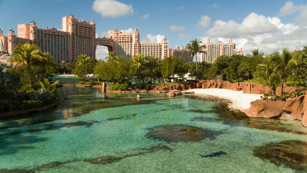 Looking over the water at the Atlantis Resort in the Bahamas