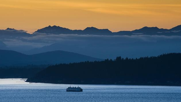 Seattle Ferry and the Olympic Mountains