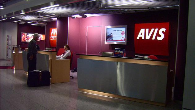 Avis airport check-in counter