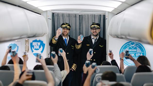 BrewDog founders James Watt and Martin Dickie aboard BrewDog Airlines