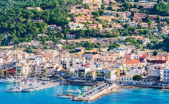 Panoramic view of the coastline bay of Port de Andratx marina harbor, Mallorca Spain