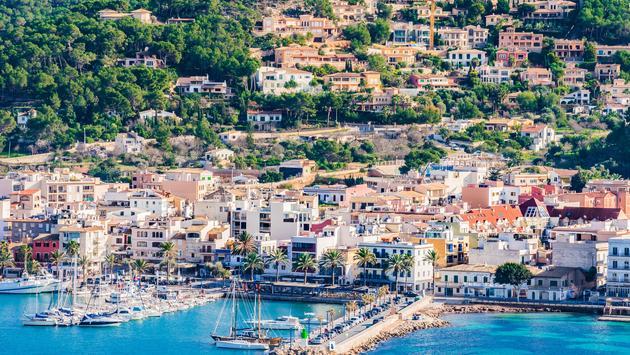 Panoramic view of the coastline bay of Port de Andratx marina harbor, Mallorca Spain
