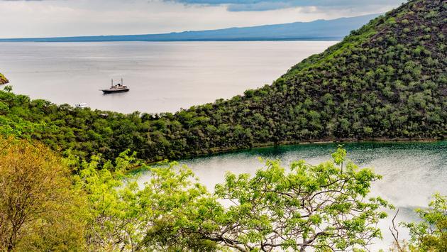 Darwin Lake and coast of Isabela Island in the Galapagos.