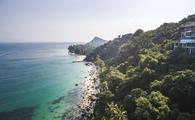 Aerial view of a beautiful beach in Koh Samui, Thailand