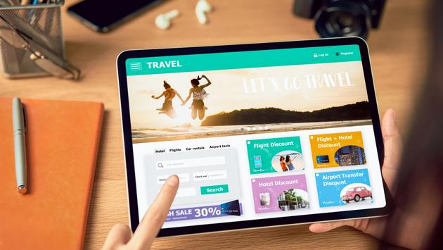 Searching for vacation options online using a tablet.